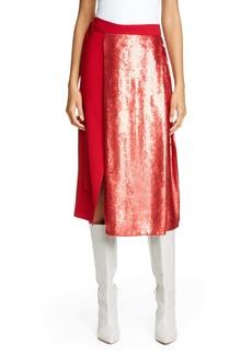 Tibi Sequin Panel Skirt