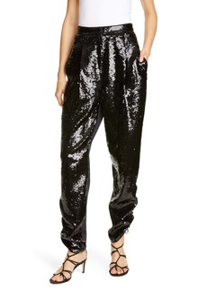 Tibi Sequin Ruched Hem Trousers