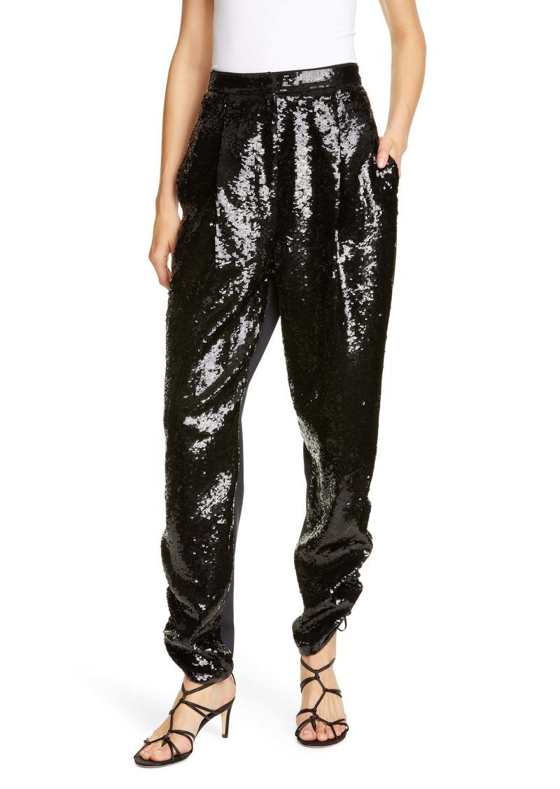 Tibi Sequin Ruched Hem Trousers