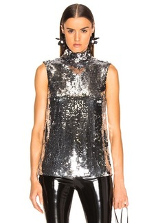 Tibi Sequin Turtle Neck Shell Top