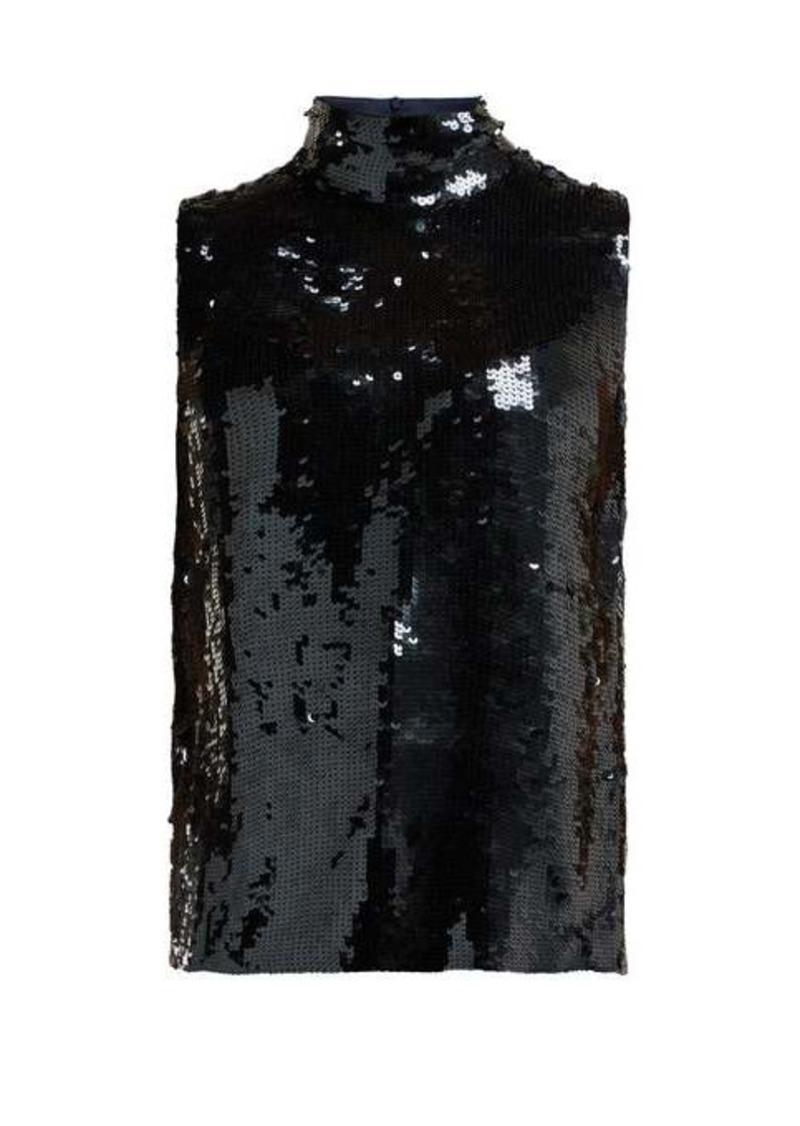 Tibi Sequinned silk sleeveless top