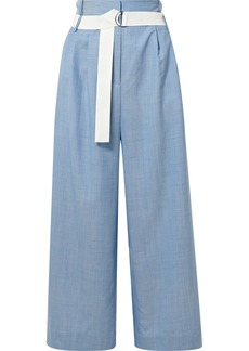 Tibi Serge belted cropped wool wide-leg pants