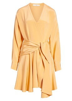 Tibi Shark Bite Hem Long Sleeve Silk Minidress