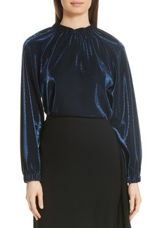 Tibi Shirred Metallic Blouse