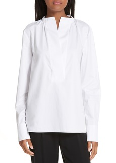 Tibi Shirred Neck Cotton Poplin Top