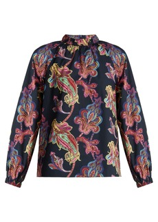 Tibi Shirred-neck paisley-print cotton top