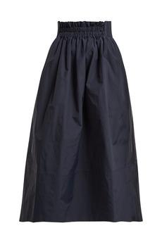 Tibi Shirred-waistband midi skirt