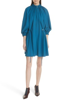 Tibi Side Drawstring Georgette Dress