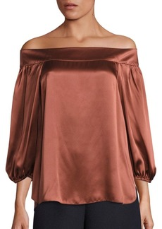 Tibi Silk Asymmetric Off-The-Shoulder Top