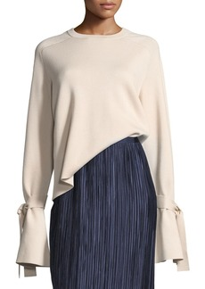 Tibi Silk-Back Crewneck Bell-Sleeve Wool Top