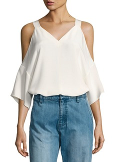 Tibi Silk Cold-Shoulder V-Neck Top