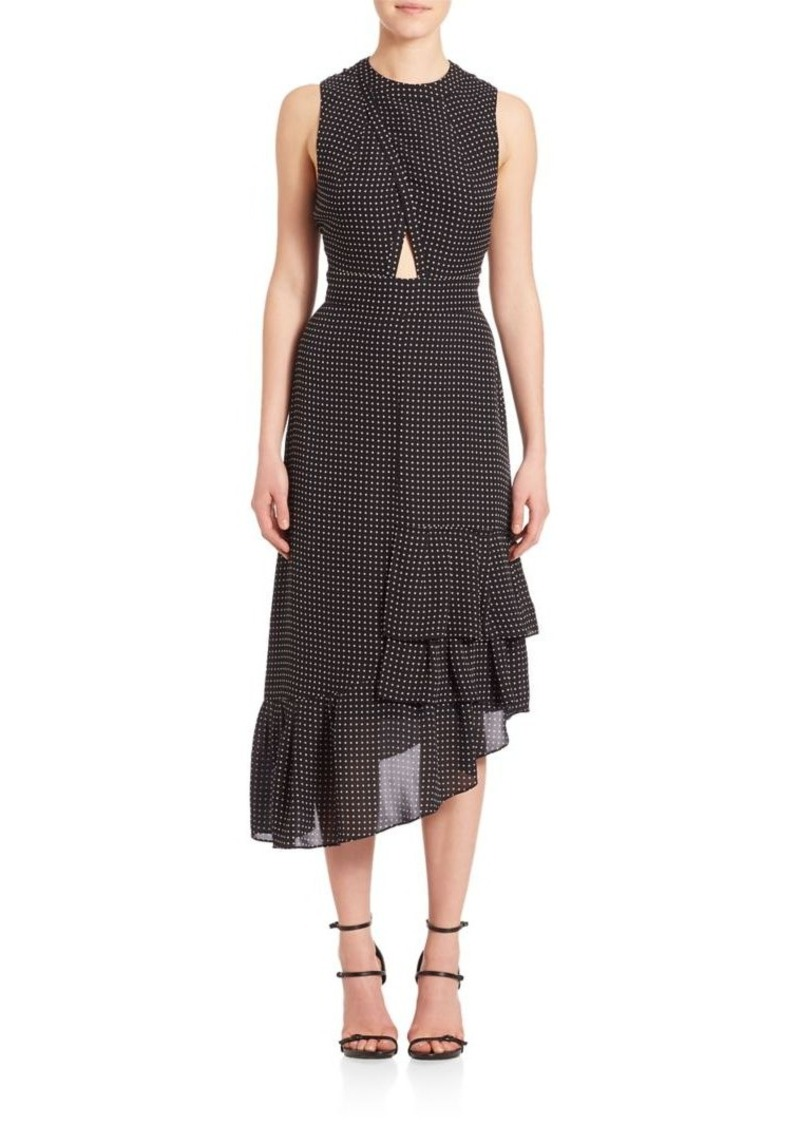Tibi Silk Cut Out Ruffle Dress