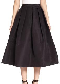 Tibi Silk Faille Pleated A-Line Skirt