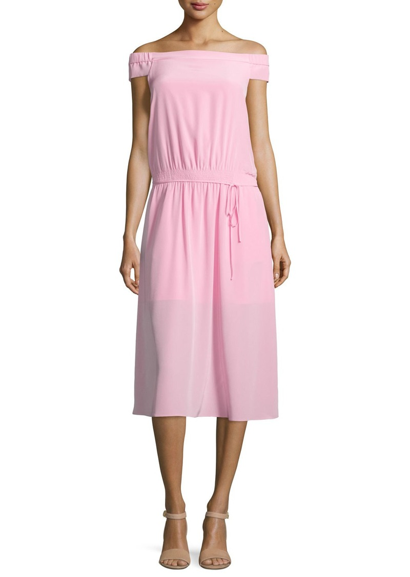Tibi Silk Off-the-Shoulder Midi Dress