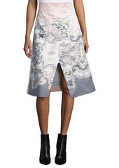 Tibi Silk Southwestern-Print Wrap Skirt