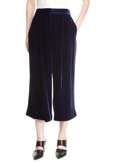 Tibi Silky Velvet Mid-Rise Culotte Pants
