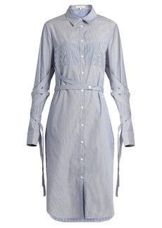 Tibi Sleeve and waist-tie striped cotton shirtdress