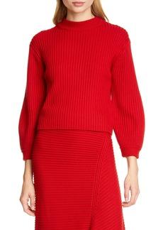 Tibi Slit Neck Rib Merino Wool Sweater