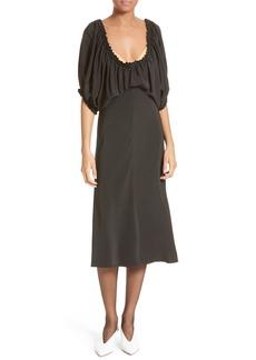 Tibi Sophia Drape Bodice Silk Crepe Dress