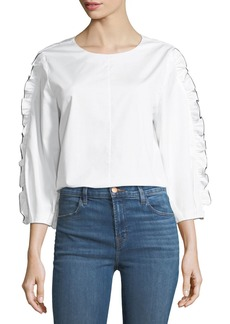 Tibi Spectator Crewneck Cotton Ruffle Top