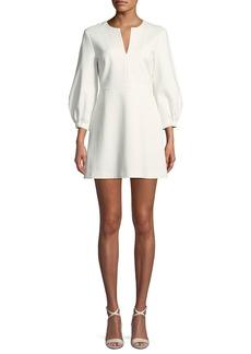 Tibi Split-Neck Pouf-Sleeve Knit Mini Dress