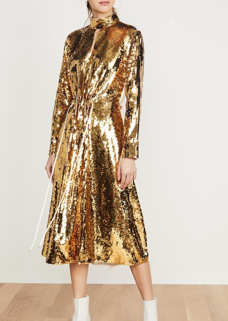 Tibi Split Neck Sequin Dress
