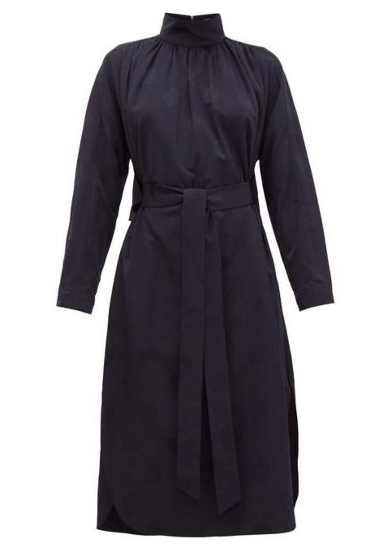 Tibi Spot-jacquard belted faille dress