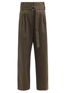 Tibi Stella belted cotton-drill wide-leg trousers