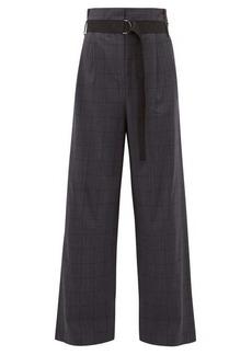 Tibi Stella checked wool-blend wide-leg trousers