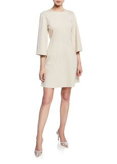 Tibi Stretch-Knit 3/4-Sleeve Mini Wrap Dress