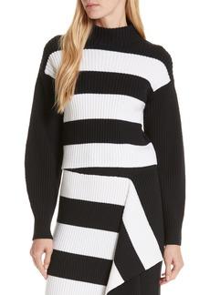 Tibi Stripe Crop Sweater