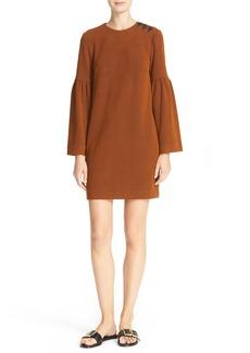 Tibi Stripe Texture Knit Bell Sleeve Dress
