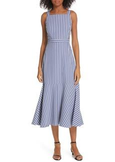 Tibi Stripe Twill Midi Dress