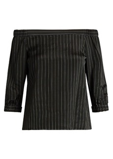 Tibi Striped off-the-shoulder satin top