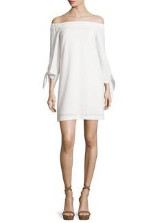 Tibi Structured Crepe Off-the-Shoulder Shift Dress