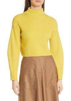 Tibi Structured Merino Wool Crop Sweater