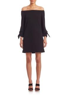 Structured Off-The-Shoulder Crepe Dress