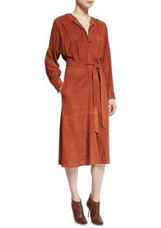 Tibi Suede Button-Front Midi Wrap Dress