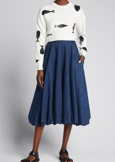 Tibi Summer Denim Bubble Skirt