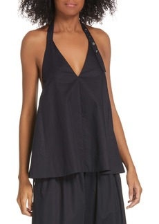 Tibi Tech Poplin Halter Top