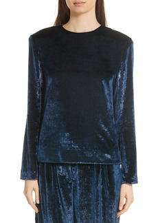 Tibi Tess Metallic Velvet Top