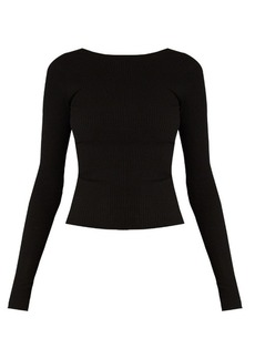 Tibi Tie-back seamless ribbed-jersey top