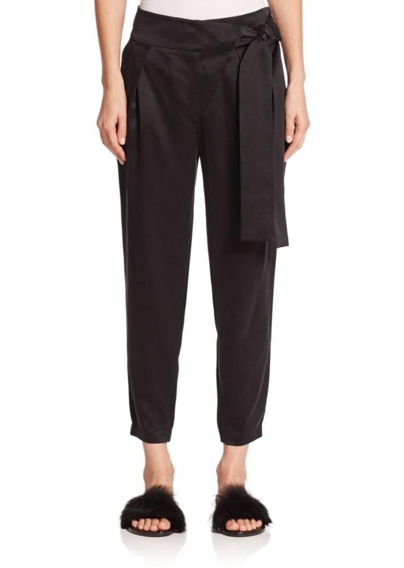 Tibi Tie-Detail Silk Pants