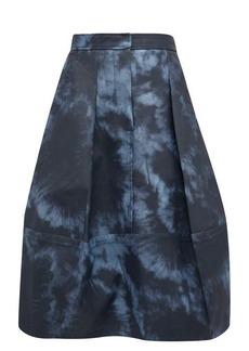 Tibi Tie-dye print laminated-twill tulip skirt