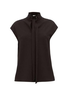 Tibi Tie-neck crepe top