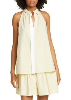 Tibi Tie Neck Poplin Top