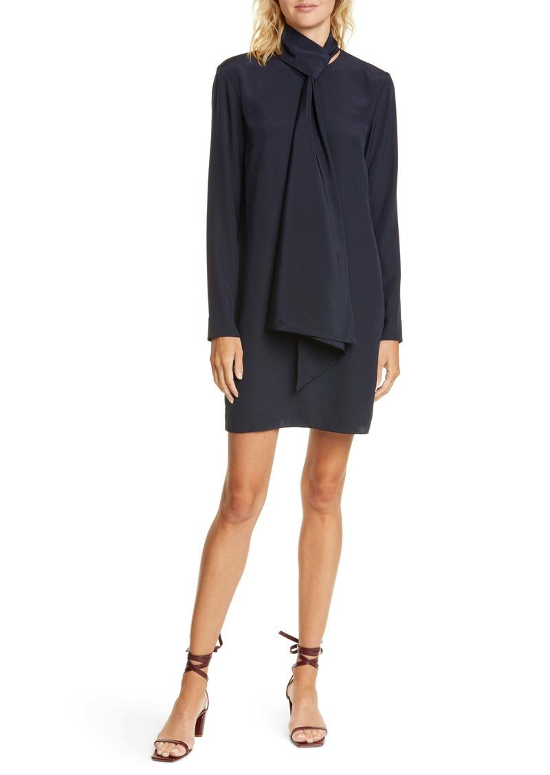 Tibi Tie Neck Silk Crêpe de Chine Shift Dress
