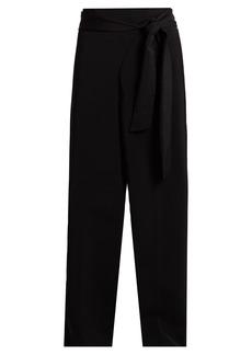Tibi Tie-waist high-rise wide-leg trousers