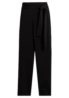 Tibi Tie-waist high-rise wide-leg trousers