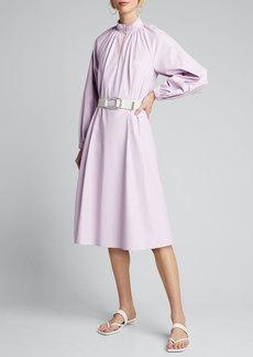 Tibi Tissue Faux-Leather Edwardian Dress w/ Belt